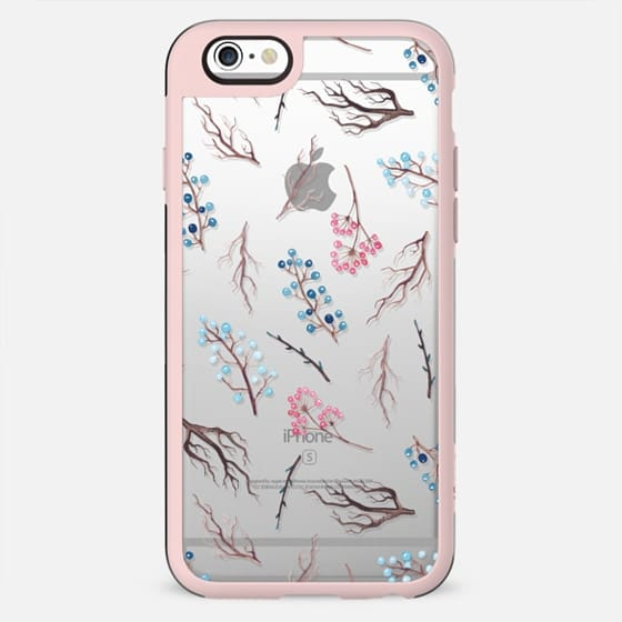 Hand painted winter blue pink watercolor floral - New Standard Case