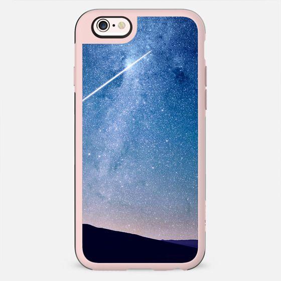 Navy blue blush pink starry night landscape