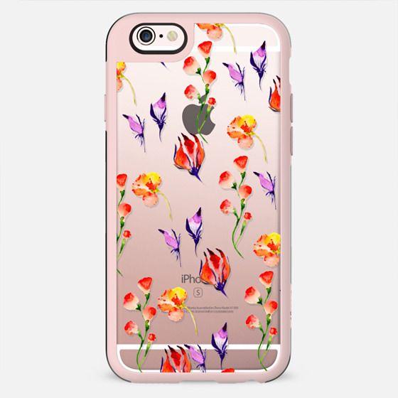 Modern hand painted pink orange purple watercolor Hibiscus floral - New Standard Case
