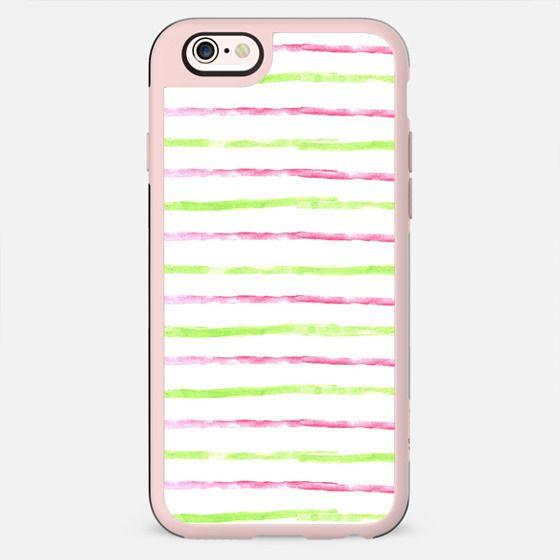 Modern lime green pink watercolor watermelon stripes