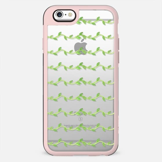 Hand painted green watercolor leaves floral stripes - New Standard Case