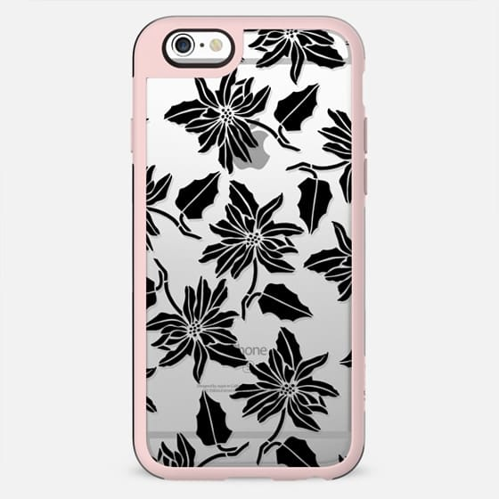 Black white modern vector poinsettia floral pattern