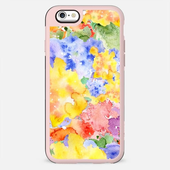 Modern whimsical pink purple yellow hand painted watercolor - New Standard Case