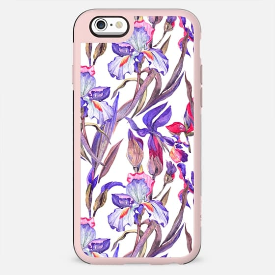 Modern artistic violet pink watercolor hand painted irises pattern - New Standard Case