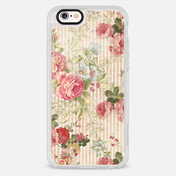Bohemian vintage pastel pink roses floral striped pattern - New Standard Case