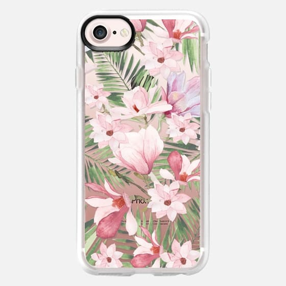 Blush pink lavender green watercolor tropical floral - Snap Case