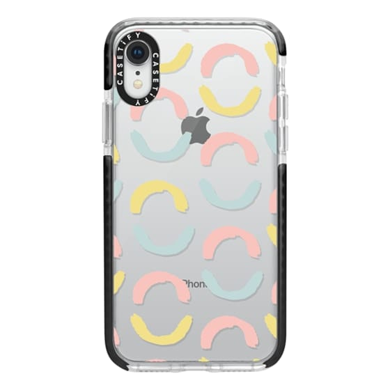 iPhone XR Cases - Vintage coral teal yellow half circles brushstrokes pattern