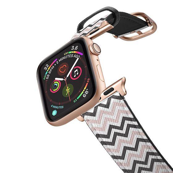Apple Watch 42mm Bands - Elegant blush pink gray white zigzag chevron