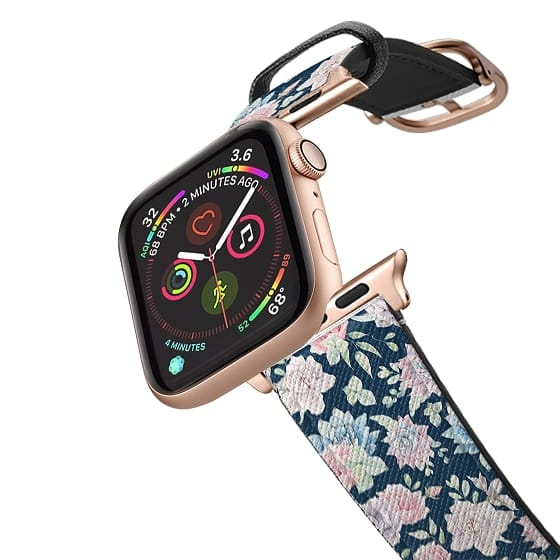 Apple Watch 38mm Bands - Navy blue blush pink lavender cactus floral pattern