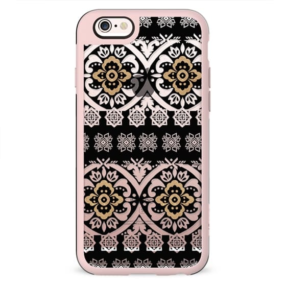 Modern black white faux gold glitter motif pattern