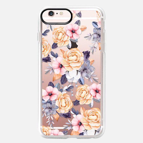 iPhone 6s Plus Case - Blush pink purple orange hand painted watercolor floral