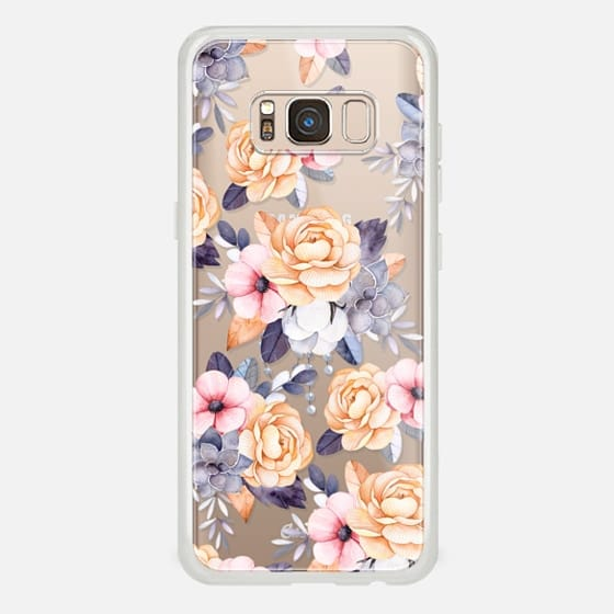 Galaxy S8 Case - Blush pink purple orange hand painted watercolor floral