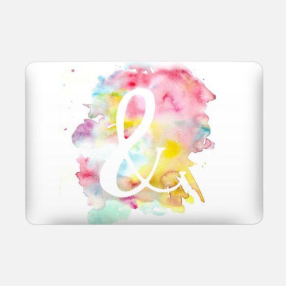 Modern bright watercolor white ampersand symbol -