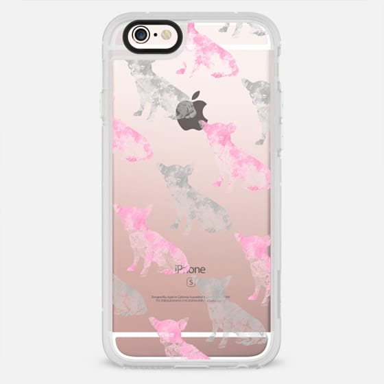 Cute girly pink gray watercolor chihuahua pattern - New Standard Case
