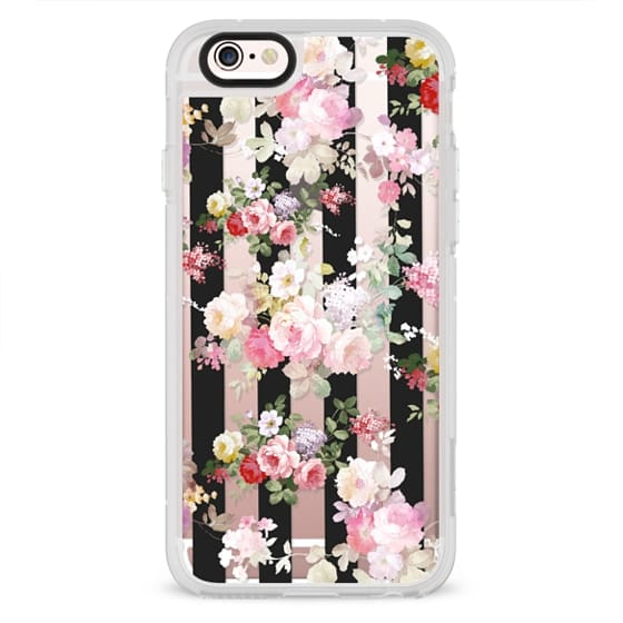 iPhone 6s Cases - Black and white stripe bright pink roses flowers pattern