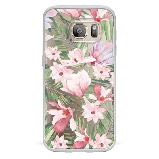 Galaxy S7 Funda - Blush pink lavender green watercolor tropical floral