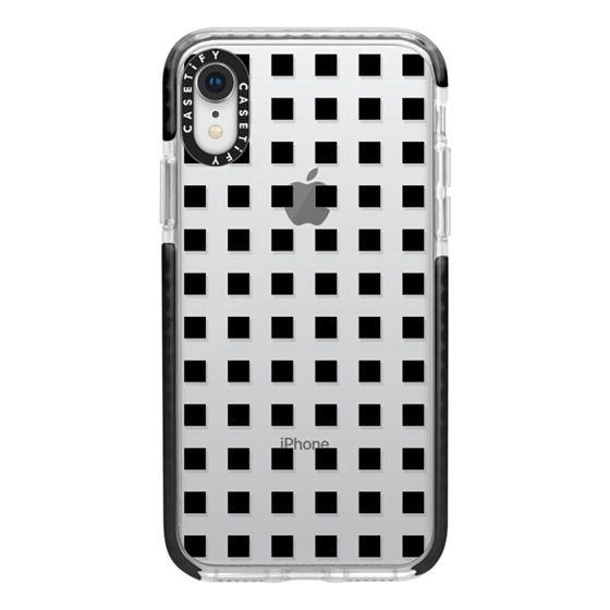 iPhone XR Cases - Modern trendy black white block pattern