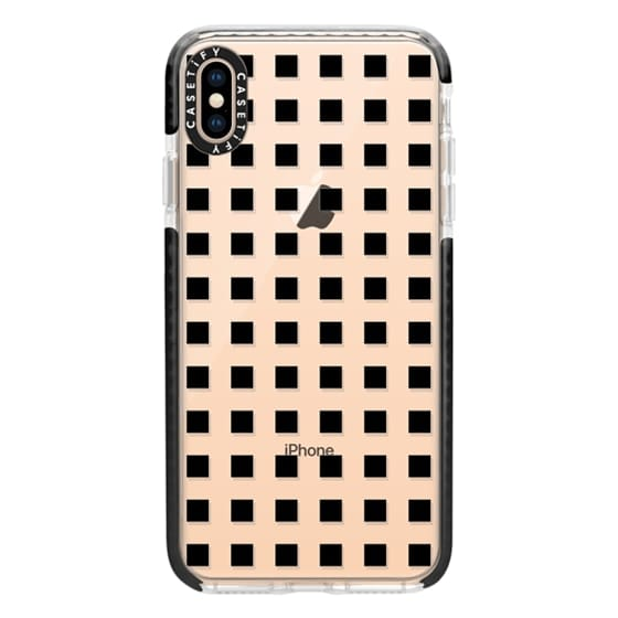 iPhone XS Max Cases - Modern trendy black white block pattern