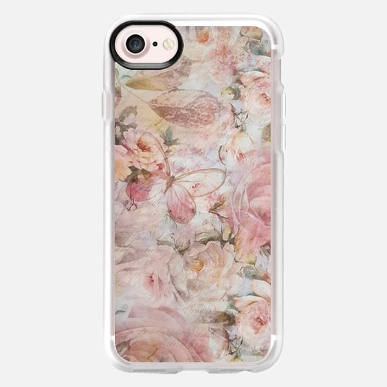 Vintage elegant blush pink white floral typography - Classic Grip Case