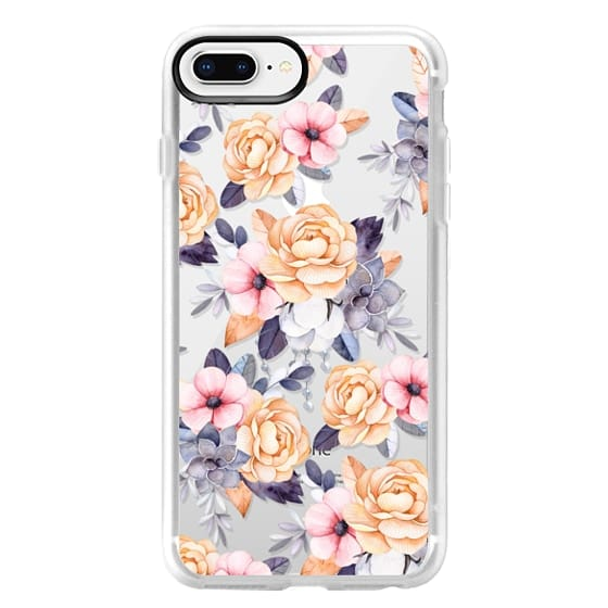 iPhone 8 Plus ケース - Blush pink purple orange hand painted watercolor floral