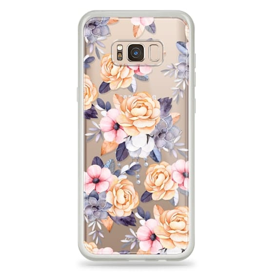 Galaxy S8 Plus Capa - Blush pink purple orange hand painted watercolor floral