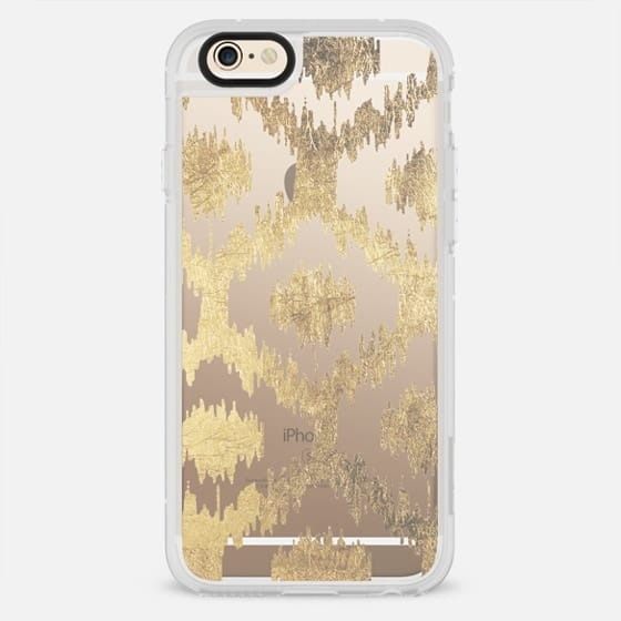 Modern white handrawn ikat pattern faux gold  - New Standard Case