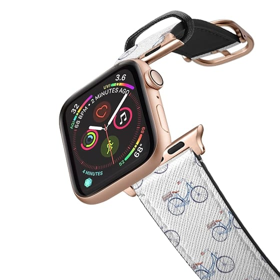 Apple Watch 38mm Bands - Pastel blue brown watercolor modern bicycle pattern