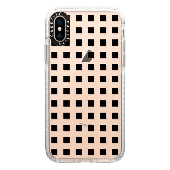 iPhone XS Cases - Modern trendy black white block pattern