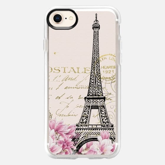 Vintage paris eiffel tower shabby chic pastel floral gold typography - Snap Case