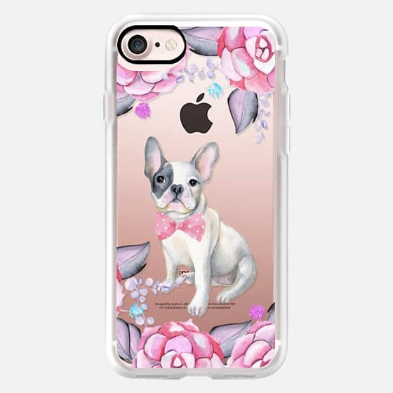 Pink gray watercolor roses cute french bulldog puppy -