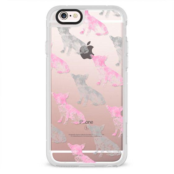 Cute girly pink gray watercolor chihuahua pattern