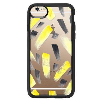 5b74bbebb7 Grip iPhone 6 Case Case - Modern yellow black watercolor brush strokes  pattern