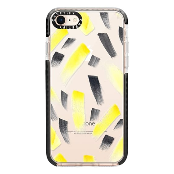 iPhone 8 Cases - Modern yellow black watercolor brush strokes pattern