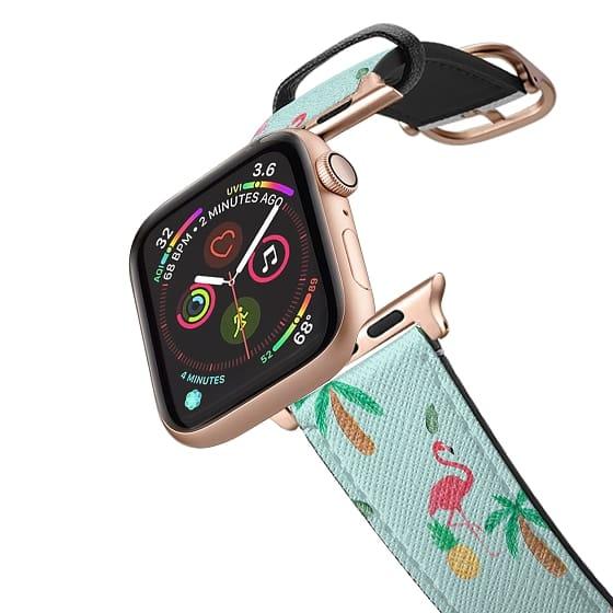 Apple Watch 42mm Bands - Trendy teal watercolor pink flamingo tropical summer pattern
