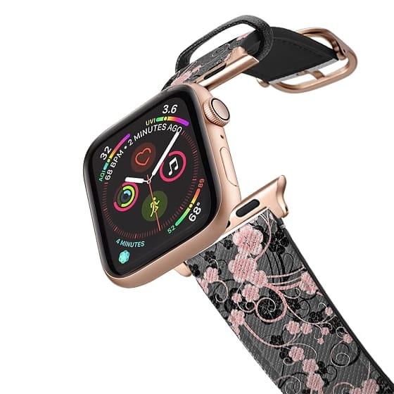 Apple Watch 38mm Bands - Coral pink black abstract floral pattern