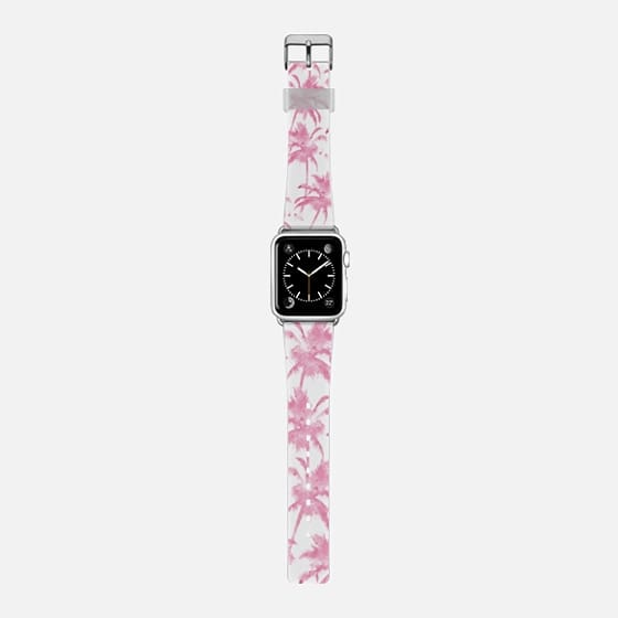 Pink watercolor modern palm tree pattern -