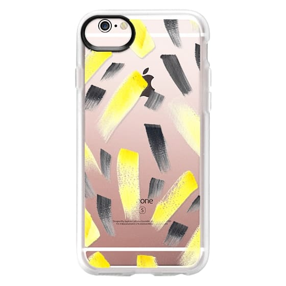 iPhone 6s Cases - Modern yellow black watercolor brush strokes pattern