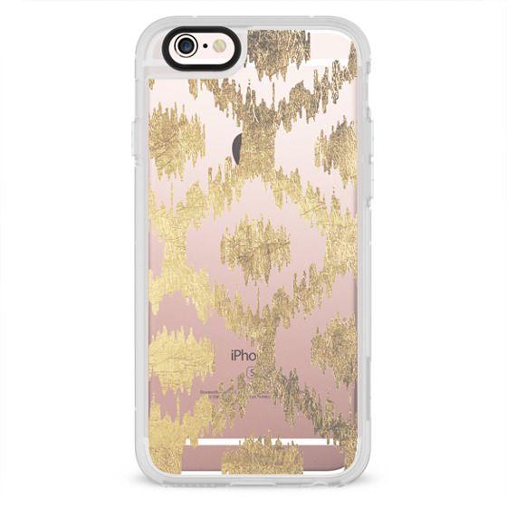 Modern white handrawn ikat pattern faux gold