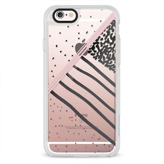 Trendy black white pink stripes dots pattern