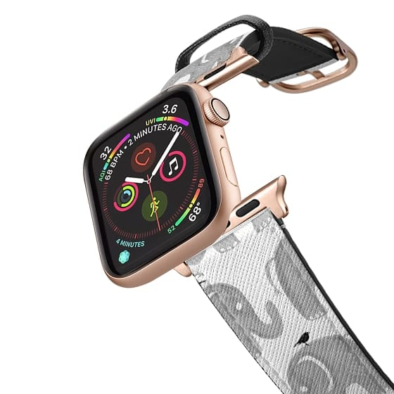 Apple Watch 42mm Bands - Modern gray white watercolor hand painted elephant birds
