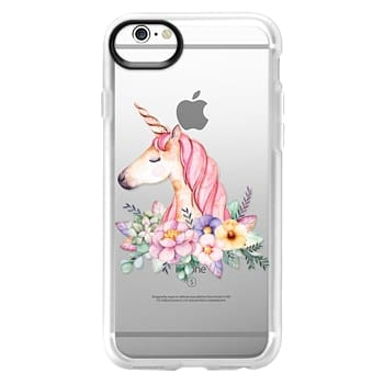 Grip iPhone 6 Case - Hand painted watercolor pink lavender floral magical unicorn