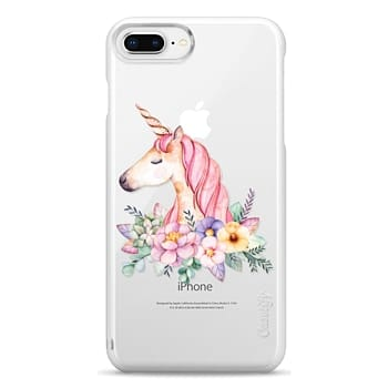Snap iPhone 8 Plus Case - Hand painted watercolor pink lavender floral magical unicorn
