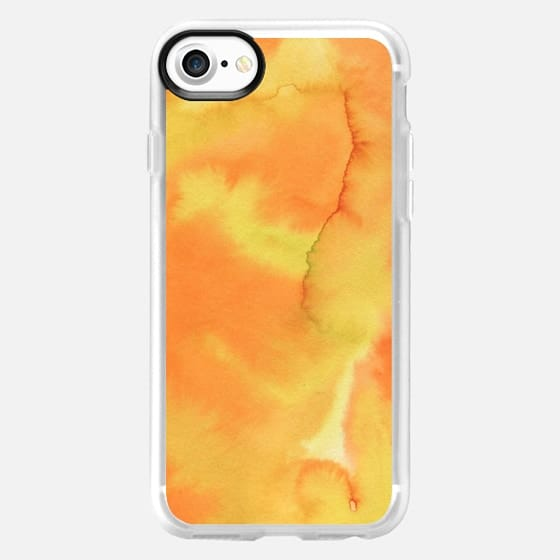 Hand painted yellow orange watercolor brushstrokes pattern -