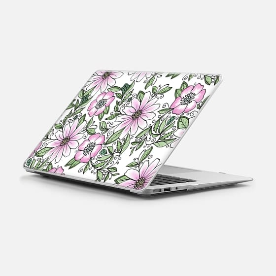 Macbook Air 11 ケース - Blush pink green watercolor hand painted floral