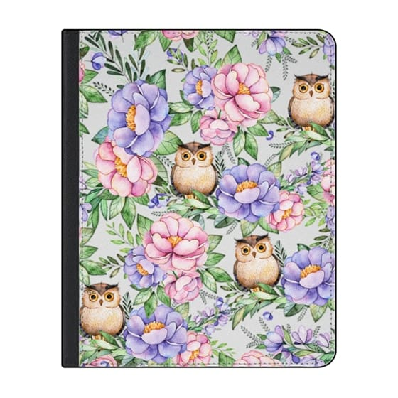 12.9-inch iPad Pro (2018) Covers - Watercolor pink lavender brown floral cute owl