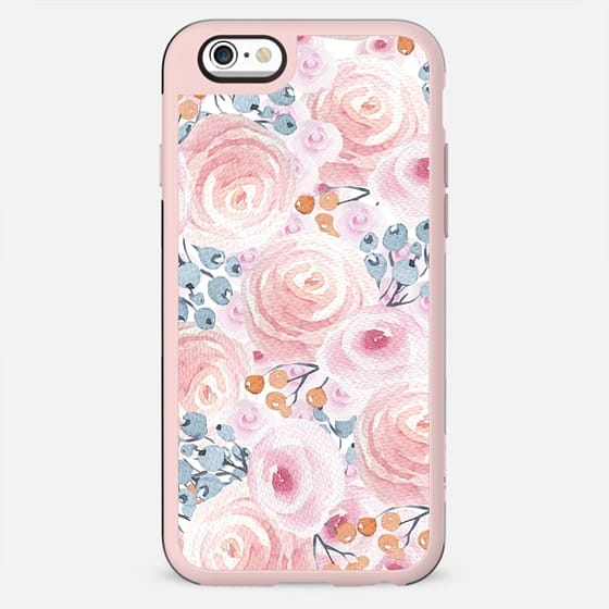 Hand painted pastel pink coral blue watercolor floral - New Standard Case