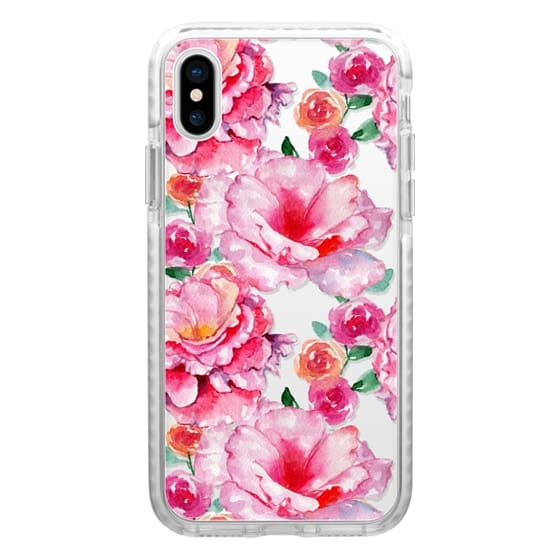 iPhone 7 Plus Cases - Hand painted hot pink white watercolor floral