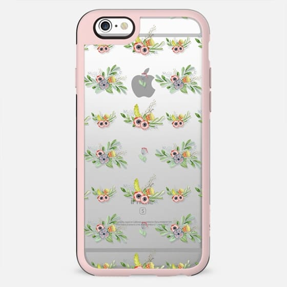 Modern coral yellow green watercolor cute flowers