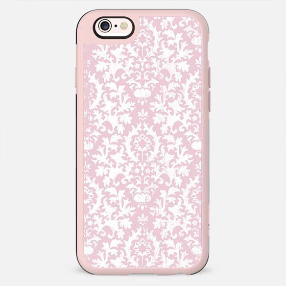 Vintage blush pink white grunge floral damask - New Standard Case