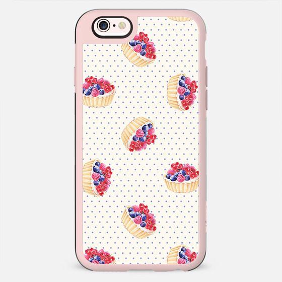 Vintage lavender pink ivory polka dots berries pie pattern